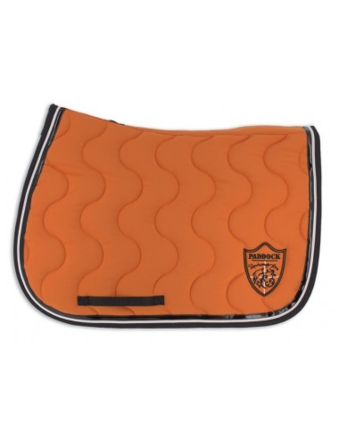 Classic Saddle Pad - Orange / Black / Orange piping / Black patent binding