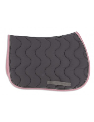 Classic Saddle Pad - Grey / Light Pink / Titanium piping