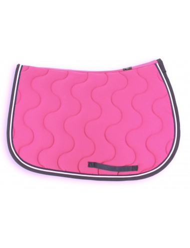 Classic Saddle Pad - Fuchsia / Navy / White piping / Navy piping