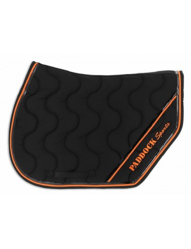 Sport Saddle Pad - White / Black / Orange piping / Black patent binding