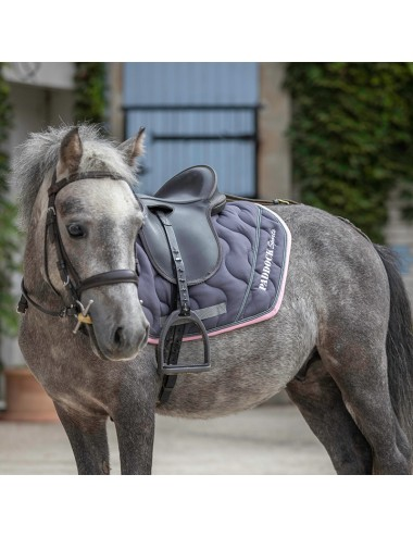 Sport Saddle Pad - Grey / Light Pink / Titanium piping