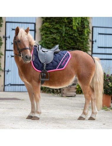 Sport Saddle Pad - Navy / Fuchsia / White piping / Fuchsia piping