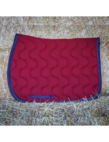 Sport Saddle Pad - Burgundy - Navy - Silver navy piping