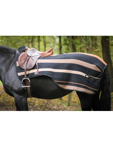 Fleece Exercice rug Striped - Black - Caramel - Creme